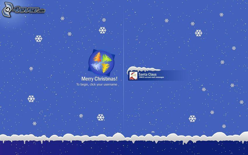 Merry Christmas, Windows, płatki śniegu