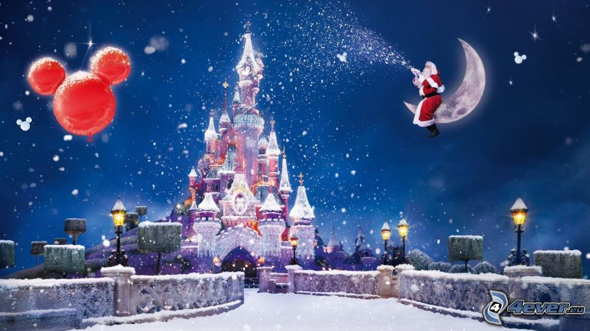 pałac, księżyc, Santa Claus, śnieżny krajobraz, rysowane