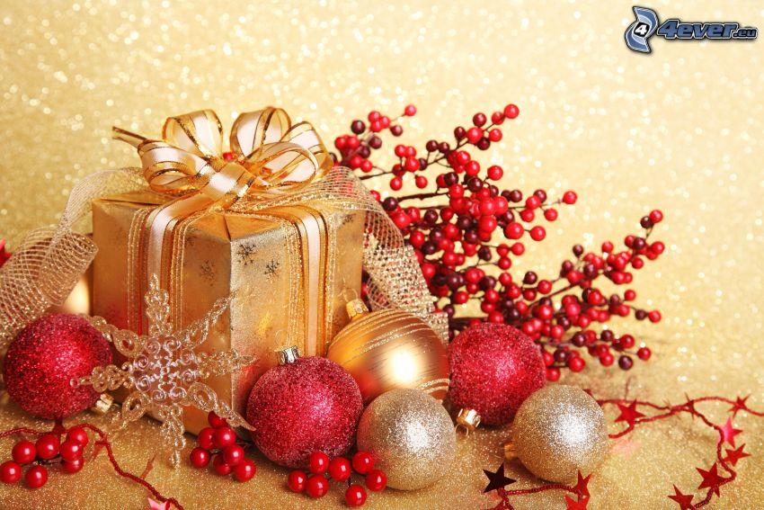 prezent, bombki choinkowe, płatek śniegu