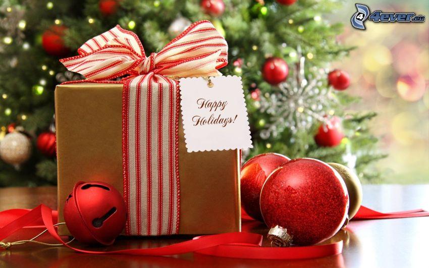 prezent, Happy Holidays, wstążka, bombki choinkowe, Jingle Bell, choinka