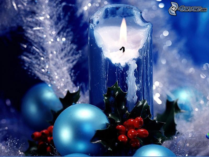 świeca, ozdoby choinkowe, zima