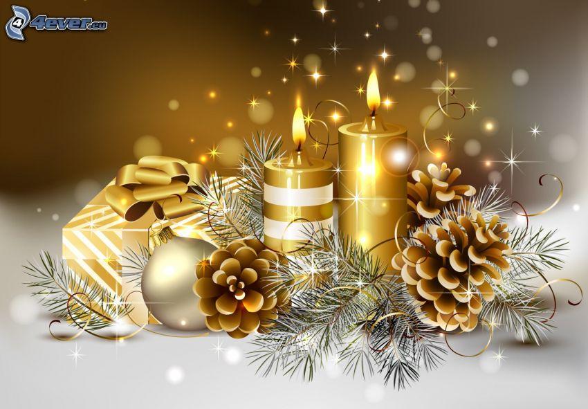 Świeczki, szyszki, prezent, iglaste gałęzie