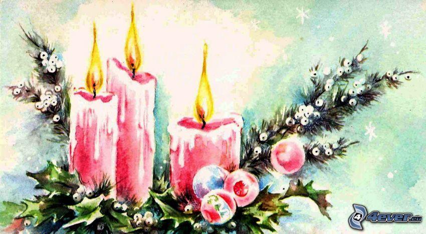 Świeczki, wieniec, iglaste gałęzie, rysowane