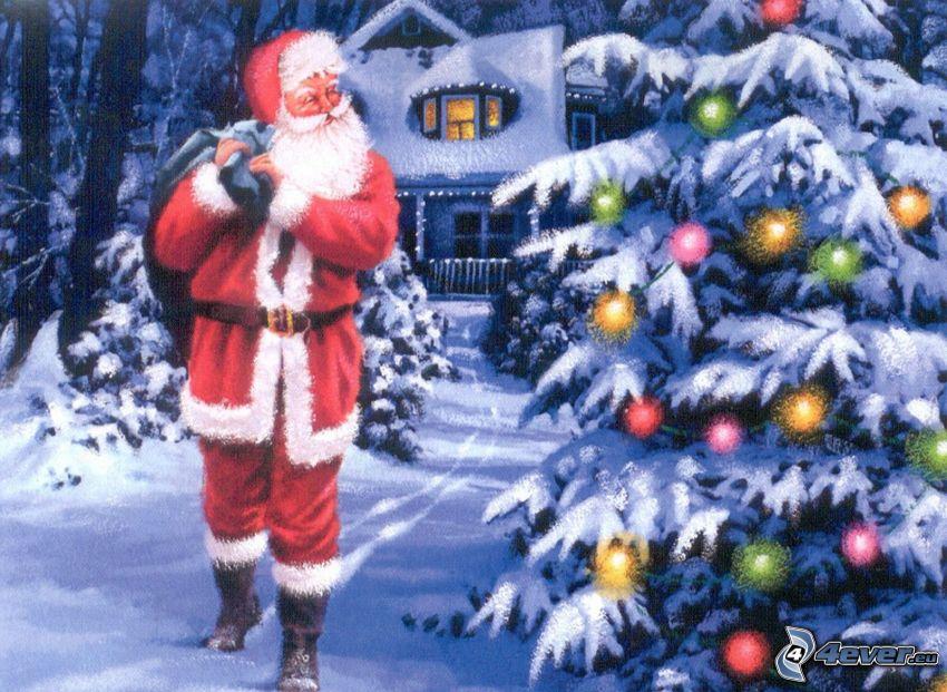Święty Mikołaj, choinka, śnieg