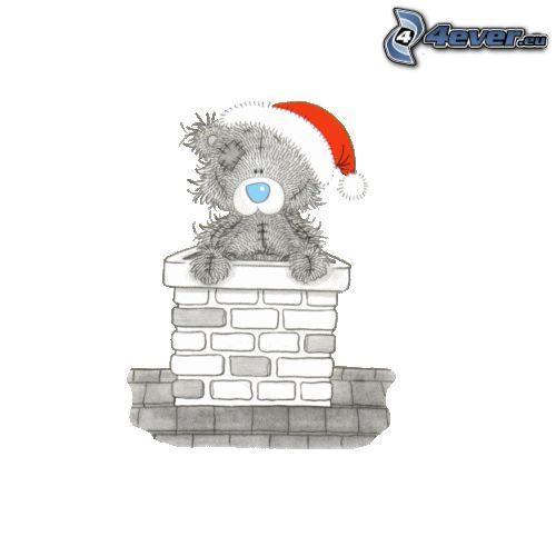 Święty Mikołaj, miś, czapka Świętego Mikołaja, komin, rysowane