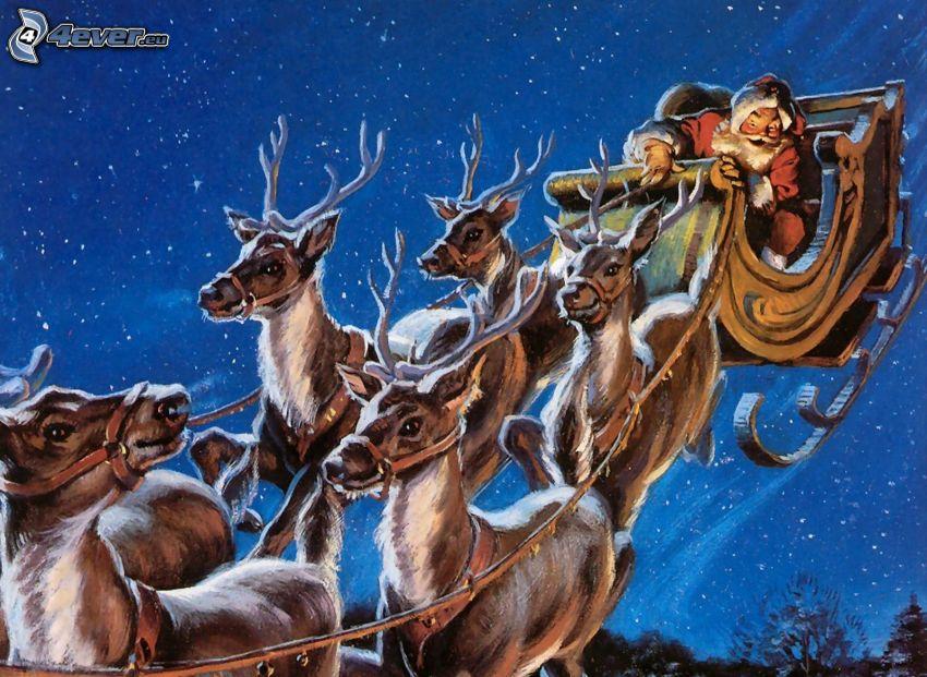 Święty Mikołaj, renifery, sanie