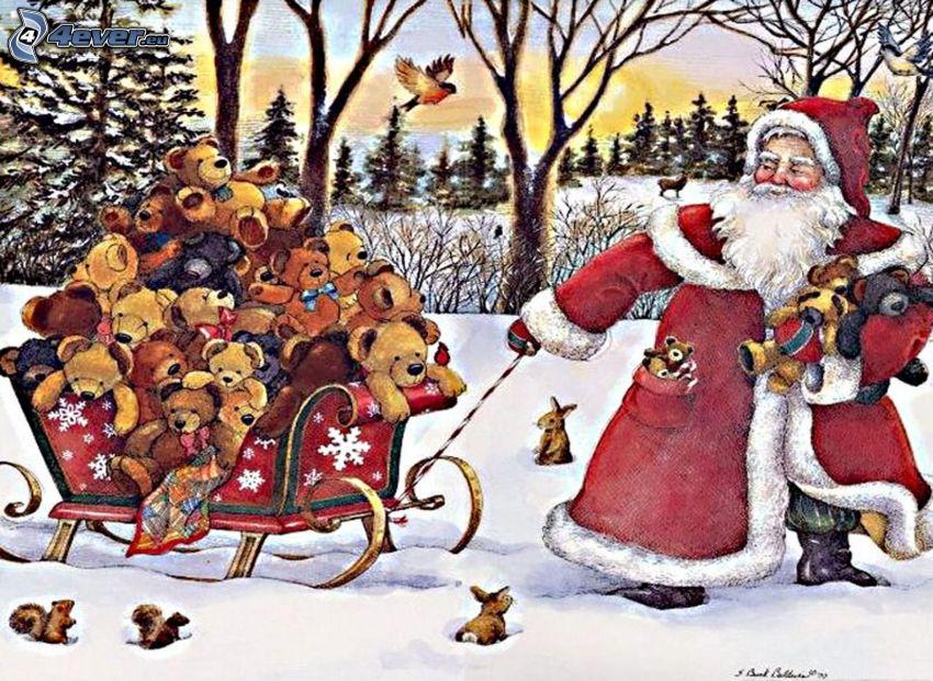 Święty Mikołaj, sanie, pluszowe misie, prezenty, śnieg, rysowane