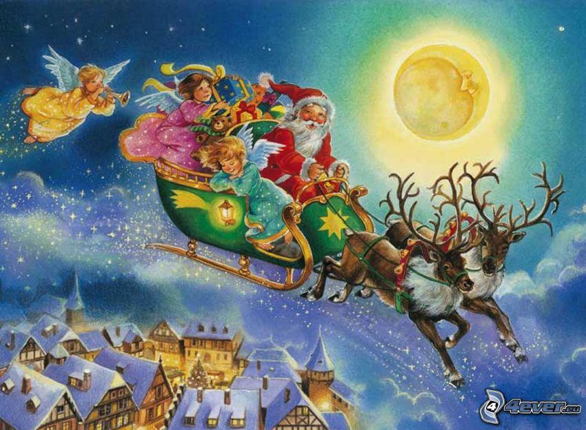 Święty Mikołaj, sanie, renifery, księżyc, śnieg, domy