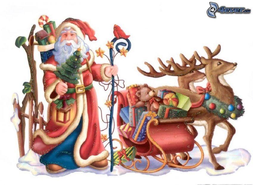 Święty Mikołaj, sanie, renifery, prezenty