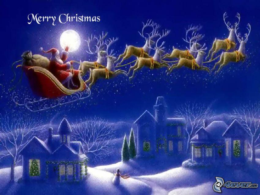 Święty Mikołaj, sanie, renifery, śnieg, domy