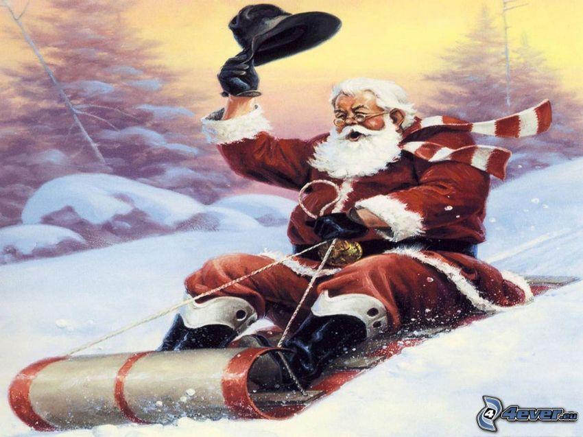 Święty Mikołaj, sanie, śnieg
