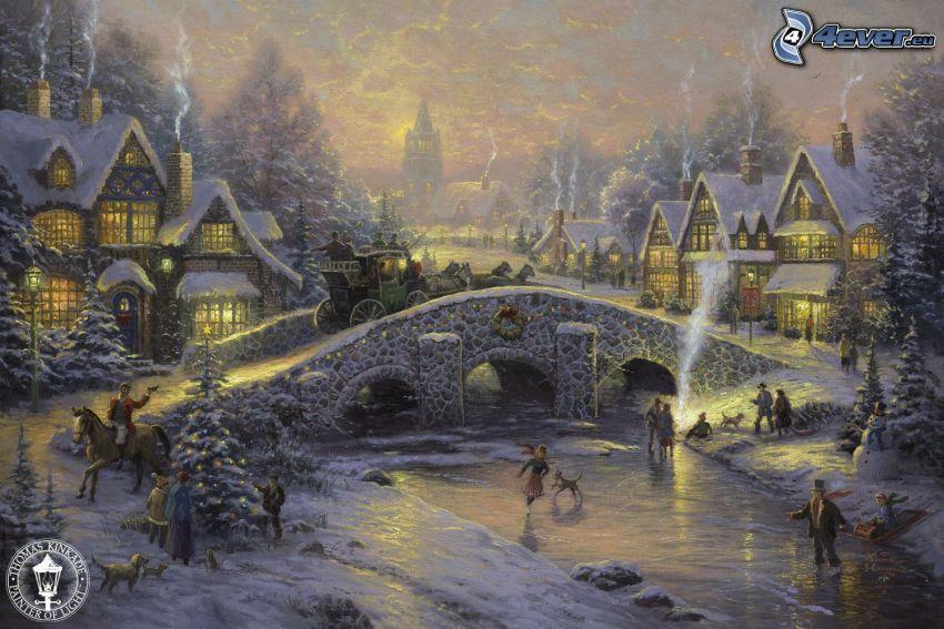 zaśnieżona wieś, kamienny most, rzeka, Thomas Kinkade