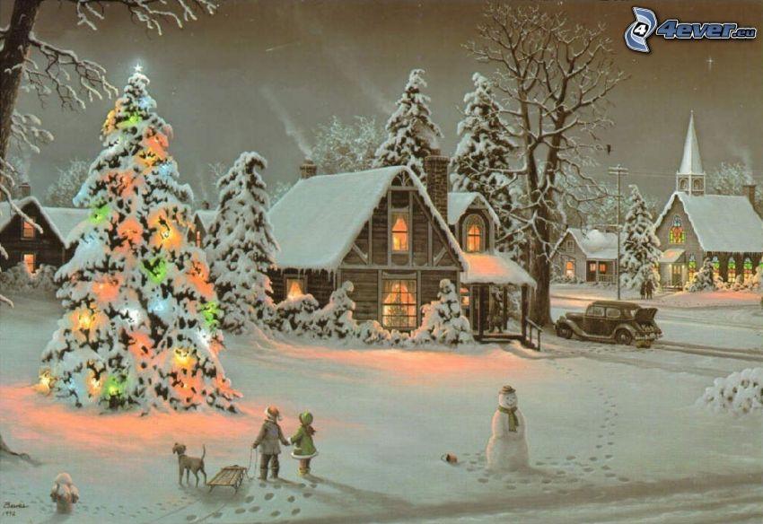 zaśnieżona wieś, wioska rysunkowa, choinka, bałwan, Thomas Kinkade