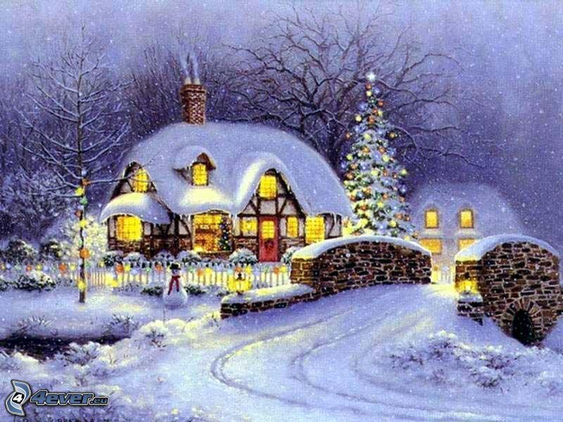 zaśnieżony dom, boże narodzenie, kamienny most, bajka, rysunek, obraz, Thomas Kinkade