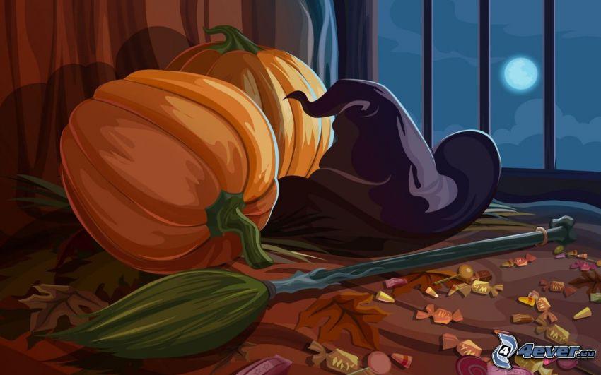 halloween dynie, kapelusz, rysowane