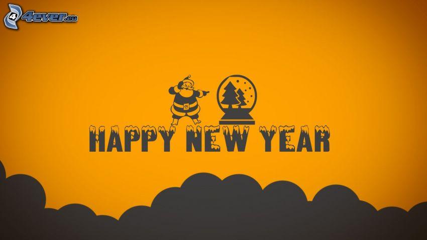 Szczęśliwego Nowego Roku, happy new year, Santa Claus, choinka