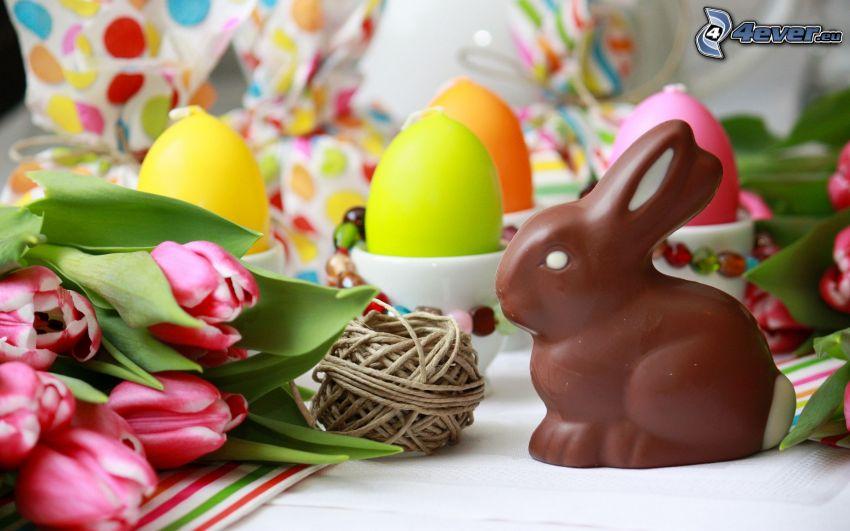 Wielkanoc, tulipany, czekoladowe zające, czekolada, Świeczki