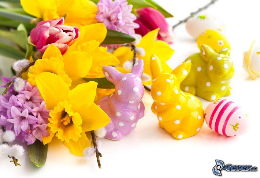 Wielkanoc, żonkile, zajączki