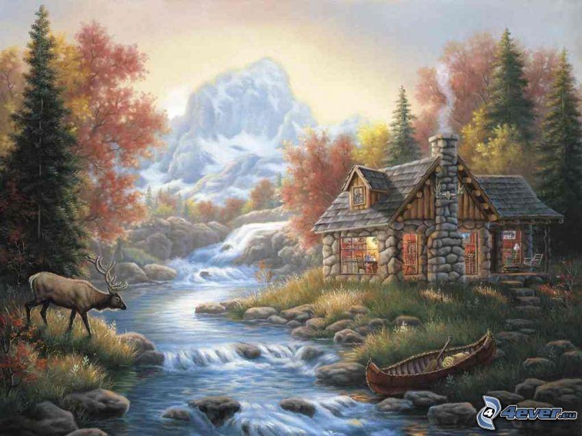 domek rysunkowy, dzicz, rzeka