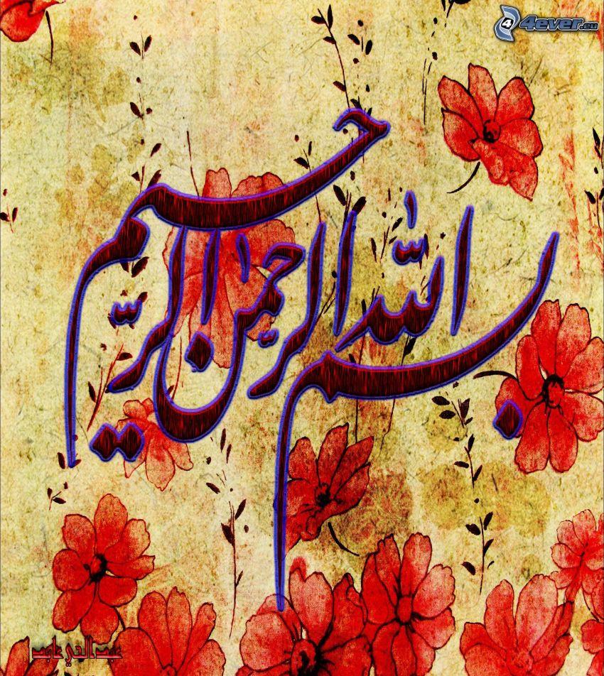 emblemat, czerwone kwiaty