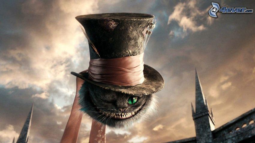 Alicja w Krainie Czarów, kot rysunkowy, kapelusz