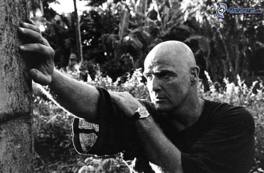 Apocalypse Now, Marlon Brando, czarno-białe