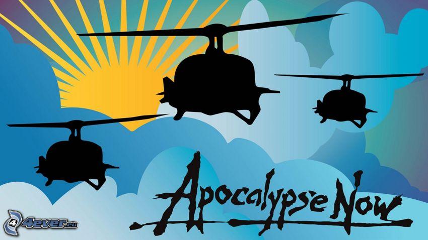 Apocalypse Now, śmigłowce wojskowe, rysunkowe słońce, sylwetka śmigłowca
