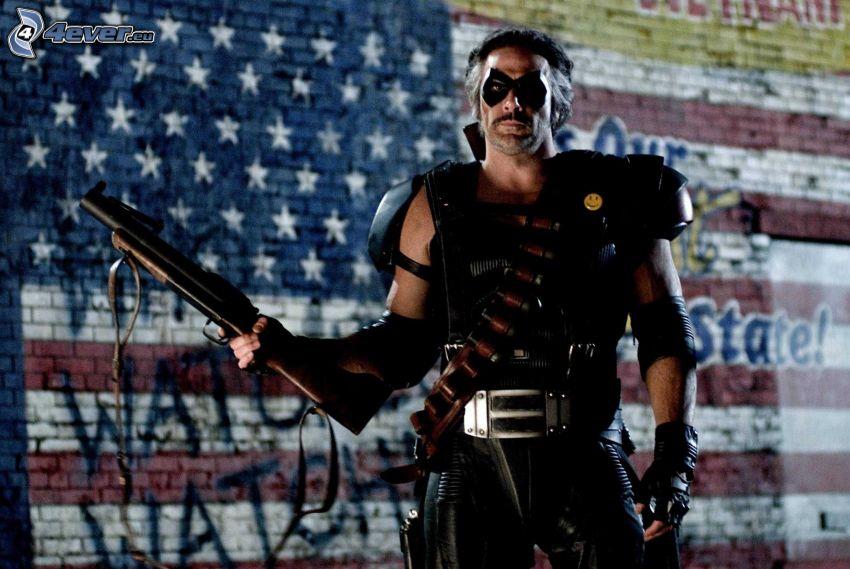 Before Watchmen, mężczyzna z pistoletem, flaga Ameryki