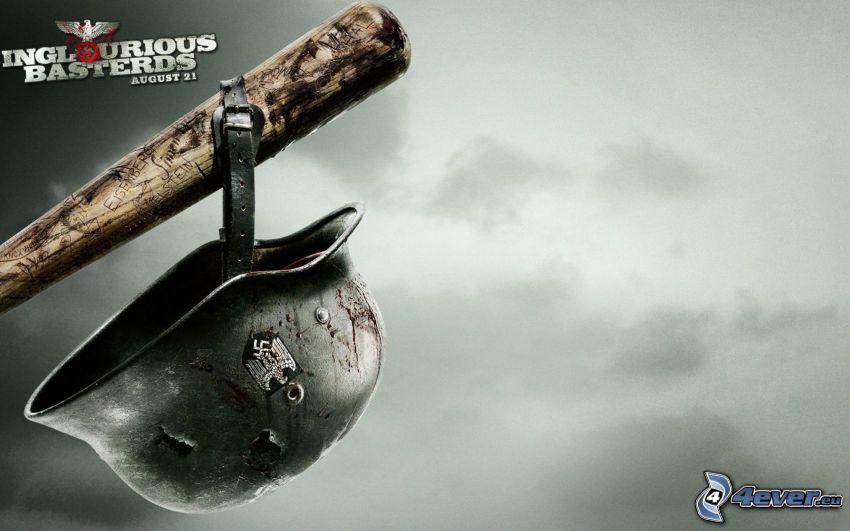 Bękarty wojny, kij baseballowy, kask