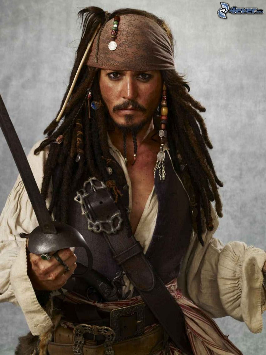 Jack Sparrow, pirat, Johnny Depp, miecz