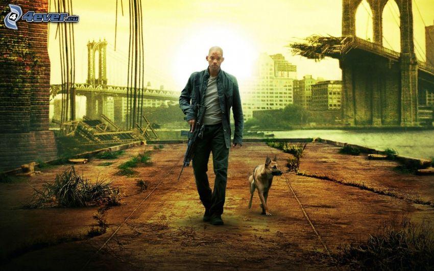 Jestem legendą, Will Smith, broń, wilczur