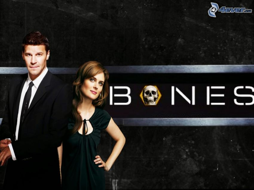 Kości, Emily Deschanel, Temperance Brennan, Seeley Booth, David Boreanaz, czaszka