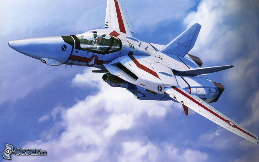 Macross, myśliwiec, ponad chmurami