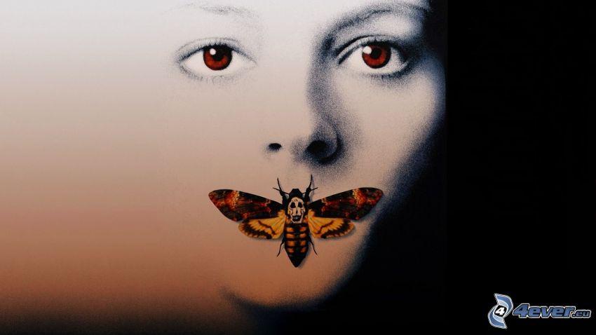 Milczenie owiec, twarz, Trupia główka Hawkmoth, motyl