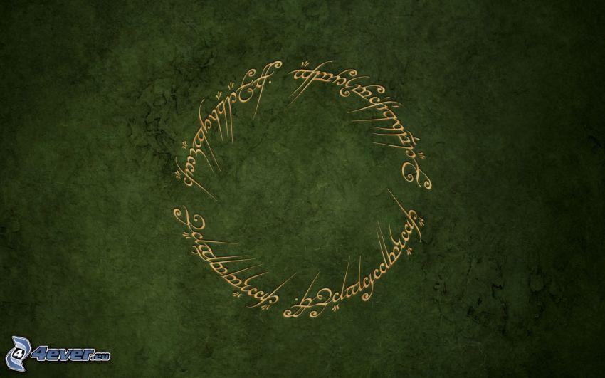 Pan Pierścieni, zielone tło, text