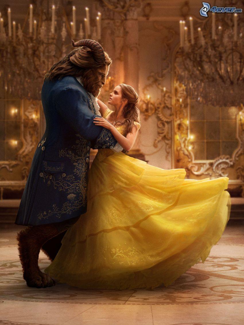 Piękna i Bestia, Emma Watson, żółta sukienka, potwór