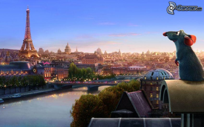 Ratatouille, szczur, Wieża Eiffla, Paryż, Seine, Francja, widok na miasto