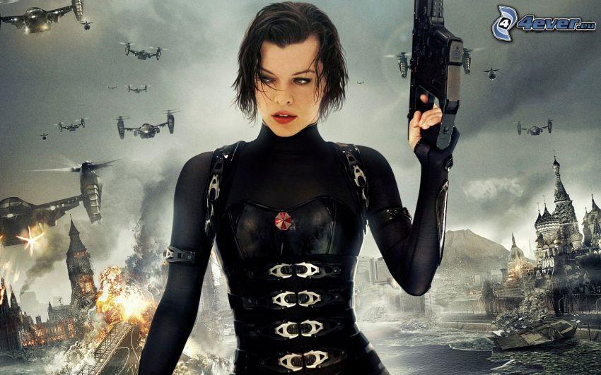 Resident Evil, Milla Jovovich, kobieta z pistoletem
