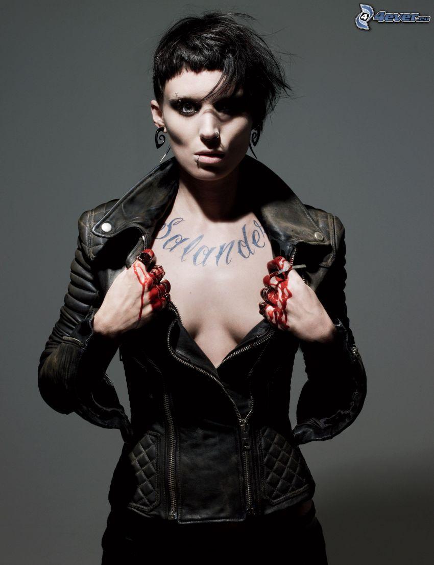 Rooney Mara, The Girl with the Dragon Tattoo, gotycka dziewczyna