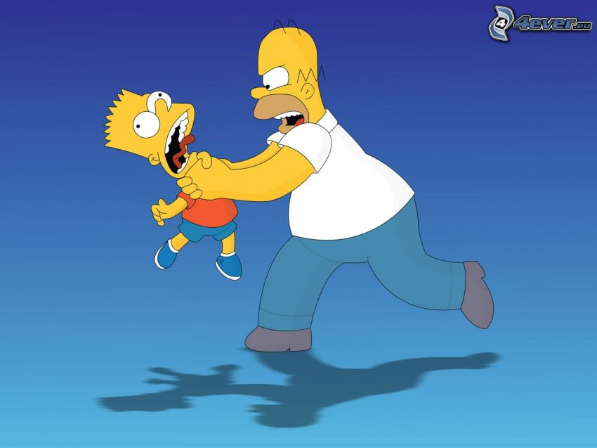 Simpsonowcy, Homer Simpson, Bart Simpson, duszenie