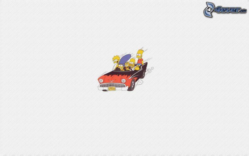 Simpsonowcy, postacie z kreskówek, samochód, kabriolet, prędkość