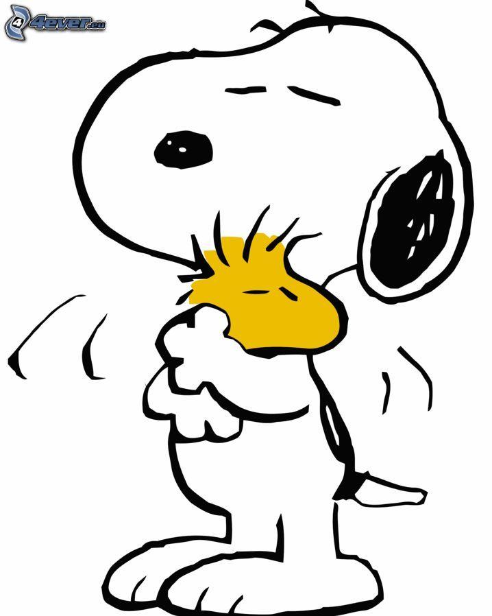 Snoopy, rysunkowy pies, ptak rysunkowy