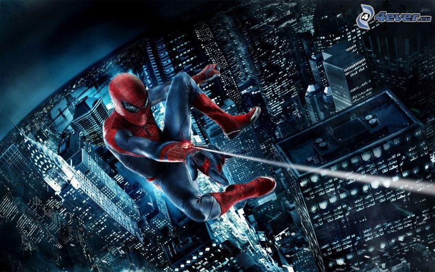 Spiderman, miasto nocą