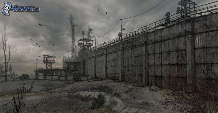 Stalker, więzienie, czarno-białe, ściana