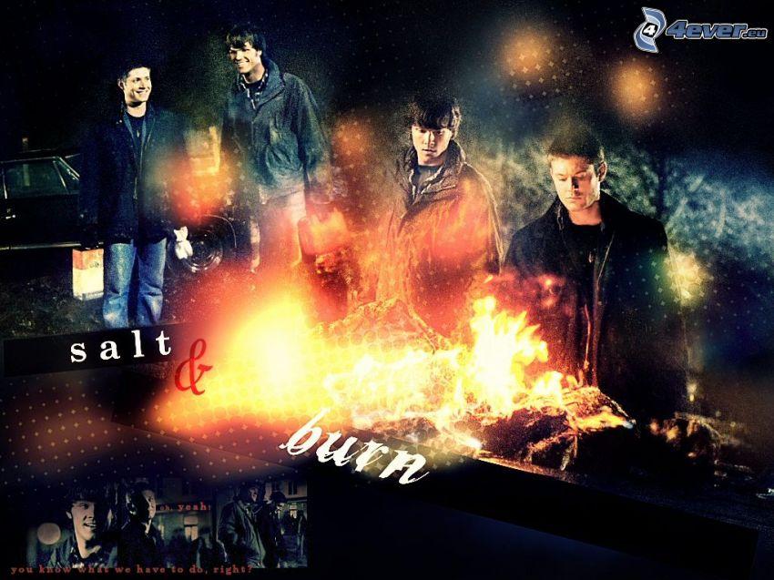 Supernatural, ogień, chłopcy, aktorzy