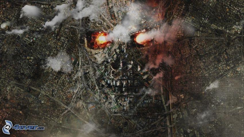 Terminator, miasto, czaszka