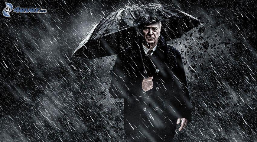 The Dark Knight, mężczyzna, parasol, deszcz