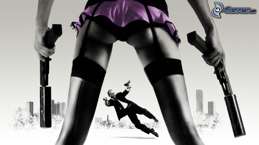 The Transporter, kobieta z pistoletem, podwiązki, mężczyzna z pistoletem