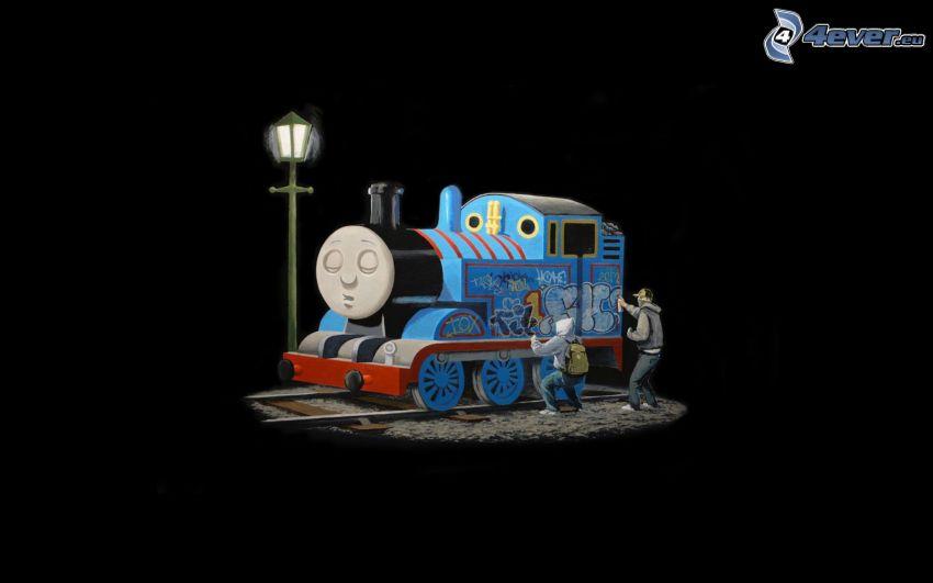 Thomas, pociąg, graficiarz