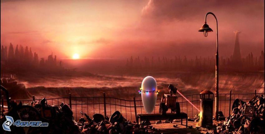 WALL·E, roboty, wschód słońca